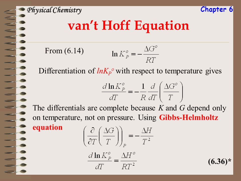 Differentiation of lnK P o with respect to temperature gives vant Hoff Equation From (6.14) (6.36)* The differentials are complete because K and G dep