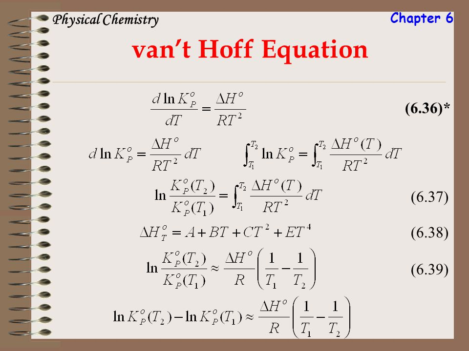 vant Hoff Equation (6.36)* (6.37) (6.38) (6.39) Physical Chemistry Chapter 6