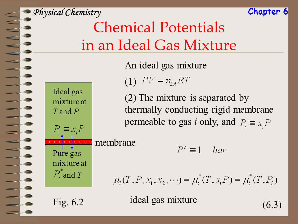 Chemical Potentials in an Ideal Gas Mixture Fig. 6.2 An ideal gas mixture Ideal gas mixture at T and P Pure gas mixture at and T membrane (1) (2) The