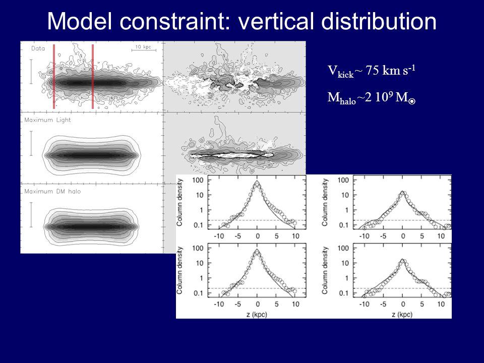 Model constraint: vertical distribution V kick ~ 75 km s -1 M halo ~2 10 9 M