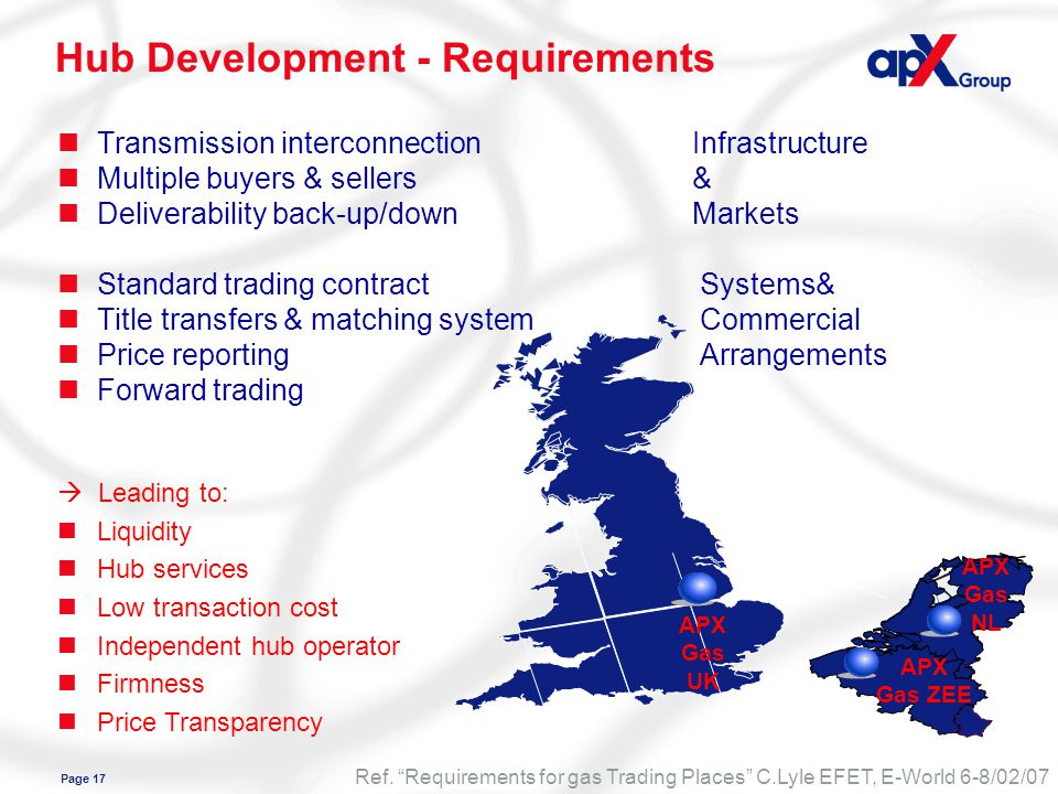 Page 17 APX Gas UK APX Gas NL APX Gas ZEE Hub Development - Requirements nTransmission interconnectionInfrastructure nMultiple buyers & sellers& nDeliverability back-up/downMarkets nStandard trading contract Systems& nTitle transfers & matching system Commercial nPrice reporting Arrangements nForward trading Ref.