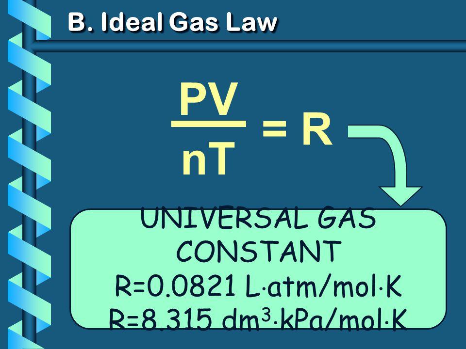 PV T VnVn PV nT B. Ideal Gas Law = k UNIVERSAL GAS CONSTANT R=0.0821 L atm/mol K R=8.315 dm 3 kPa/mol K = R