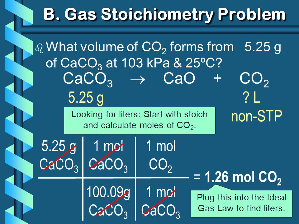 1 mol CaCO 3 100.09g CaCO 3 B. Gas Stoichiometry Problem b What volume of CO 2 forms from 5.25 g of CaCO 3 at 103 kPa & 25ºC? 5.25 g CaCO 3 = 1.26 mol