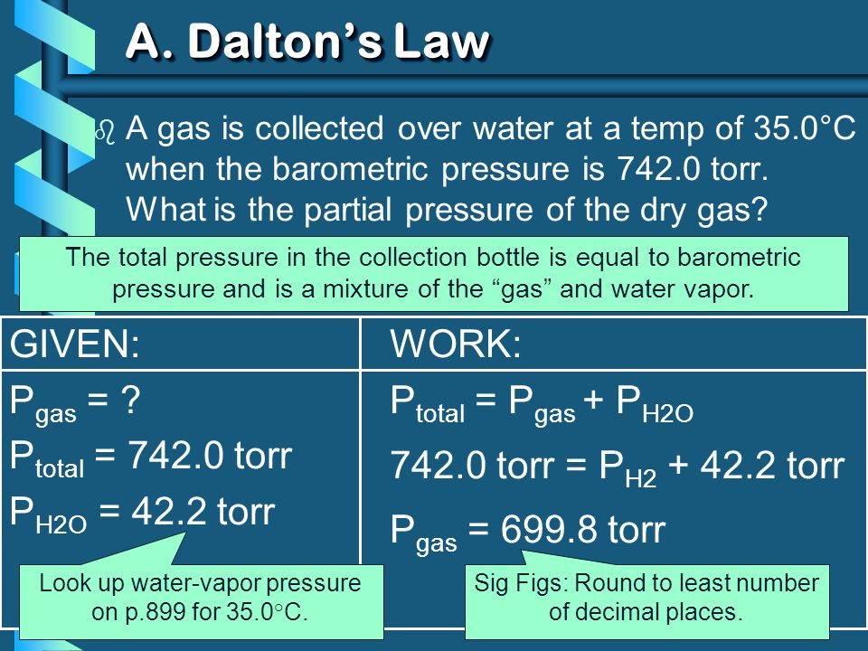 GIVEN: P gas = ? P total = 742.0 torr P H2O = 42.2 torr WORK: P total = P gas + P H2O 742.0 torr = P H2 + 42.2 torr P gas = 699.8 torr b A gas is coll