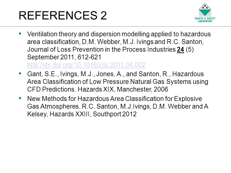 An Agency of the Health and Safety Executive REFERENCES 2 Ventilation theory and dispersion modelling applied to hazardous area classification, D.M. W