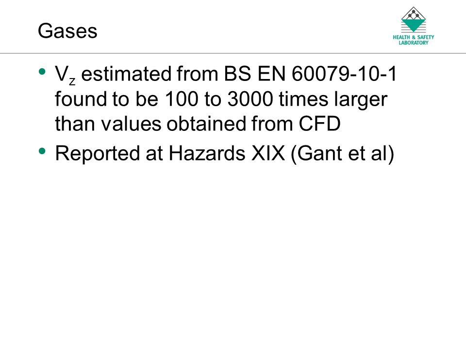 An Agency of the Health and Safety Executive GASES V z from BS EN is 2 – 3 orders of magnitude larger In every case V z from CFD is less than 0.1m 3