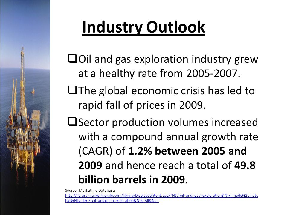 Industry Outlook Oil and gas exploration industry grew at a healthy rate from 2005-2007. The global economic crisis has led to rapid fall of prices in
