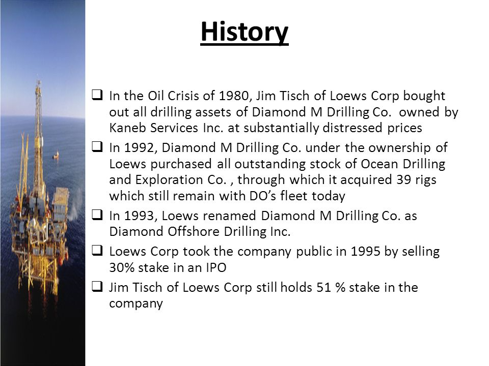 History In the Oil Crisis of 1980, Jim Tisch of Loews Corp bought out all drilling assets of Diamond M Drilling Co. owned by Kaneb Services Inc. at su