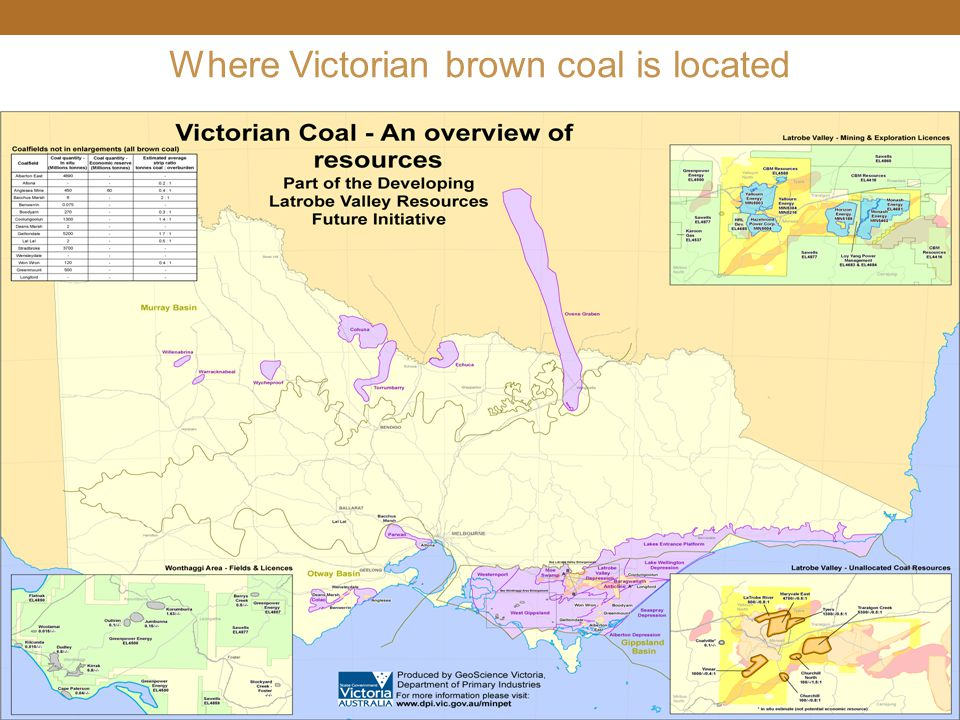 Where Victorian brown coal is located