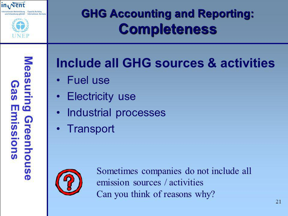 Measuring Greenhouse Gas Emissions 21 GHG Accounting and Reporting: Completeness Include all GHG sources & activities Fuel use Electricity use Industr