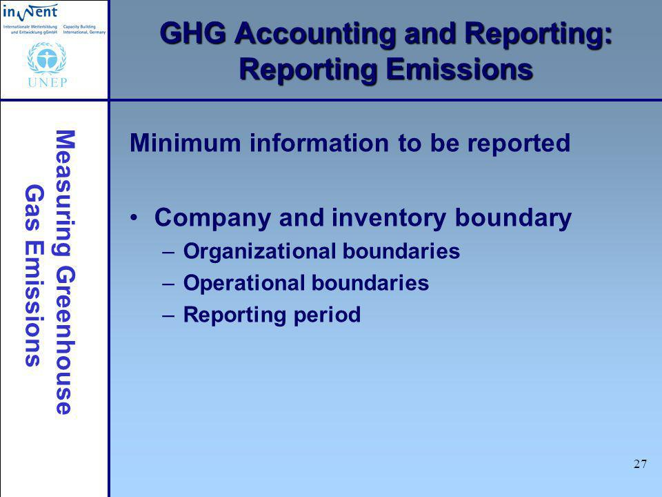Measuring Greenhouse Gas Emissions 27 Minimum information to be reported Company and inventory boundary –Organizational boundaries –Operational boundaries –Reporting period GHG Accounting and Reporting: Reporting Emissions