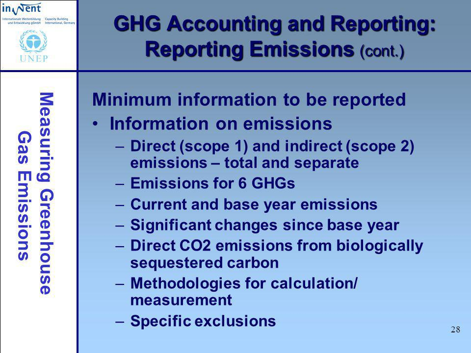Measuring Greenhouse Gas Emissions 29 Verification is objective assessment of –Accuracy and completeness of GHG information –Conformity to GHG accounting and reporting principles Why verification.