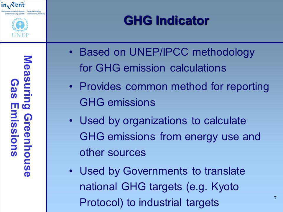 Measuring Greenhouse Gas Emissions 7 GHG Indicator Based on UNEP/IPCC methodology for GHG emission calculations Provides common method for reporting G