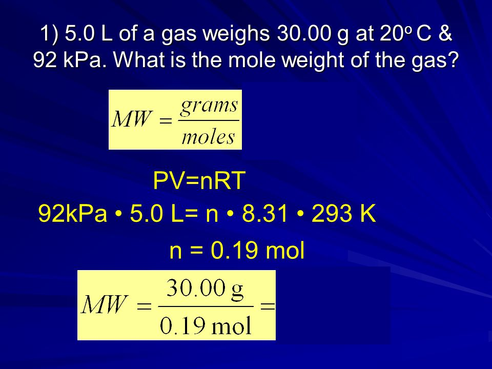 Finding Molecular Weight of a Gas Remember: MW = grams / moles Converting grams to moles –D–D–D–Divide grams by the molecular weight