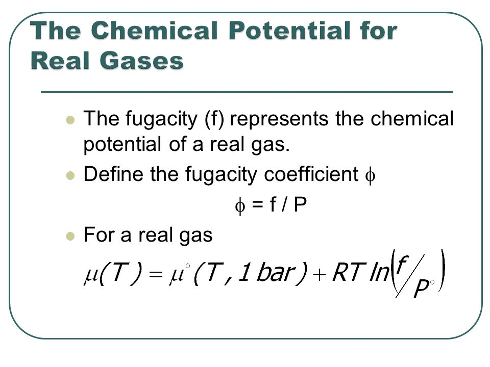 The fugacity (f) represents the chemical potential of a real gas.