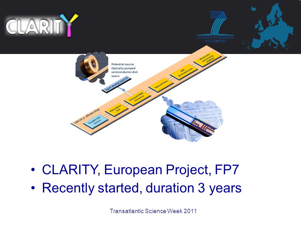 Transatlantic Science Week 2011 CLARITY, European Project, FP7 Recently started, duration 3 years