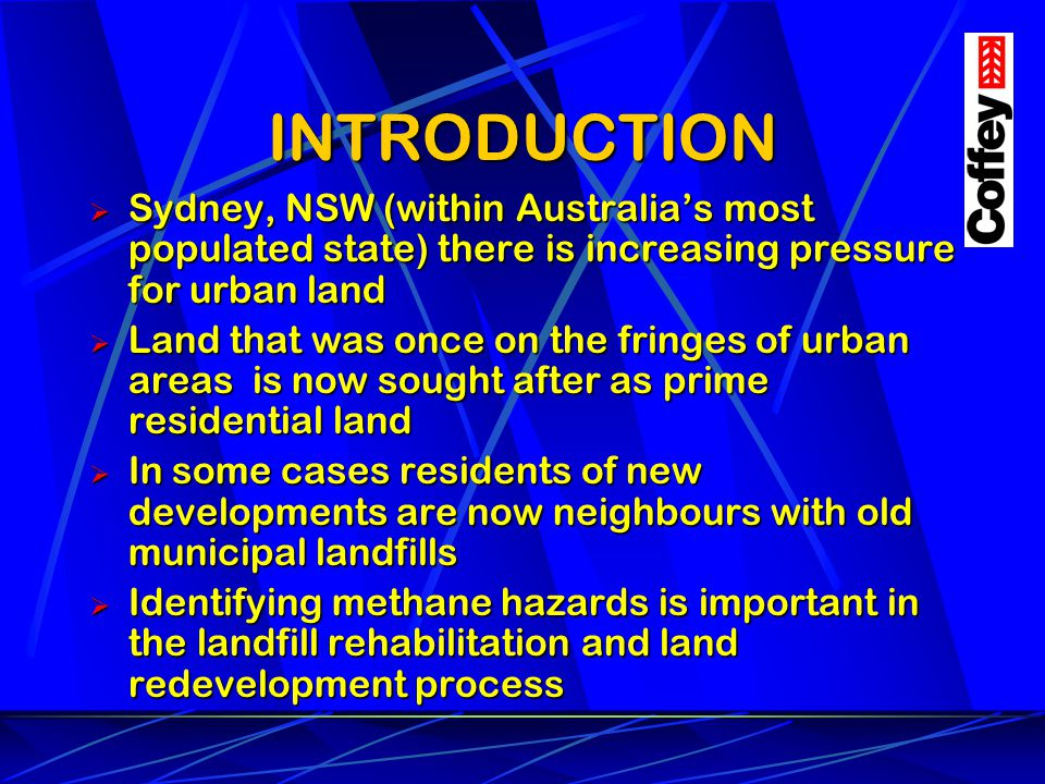 INTRODUCTION Sydney, NSW (within Australias most populated state) there is increasing pressure for urban land Sydney, NSW (within Australias most popu