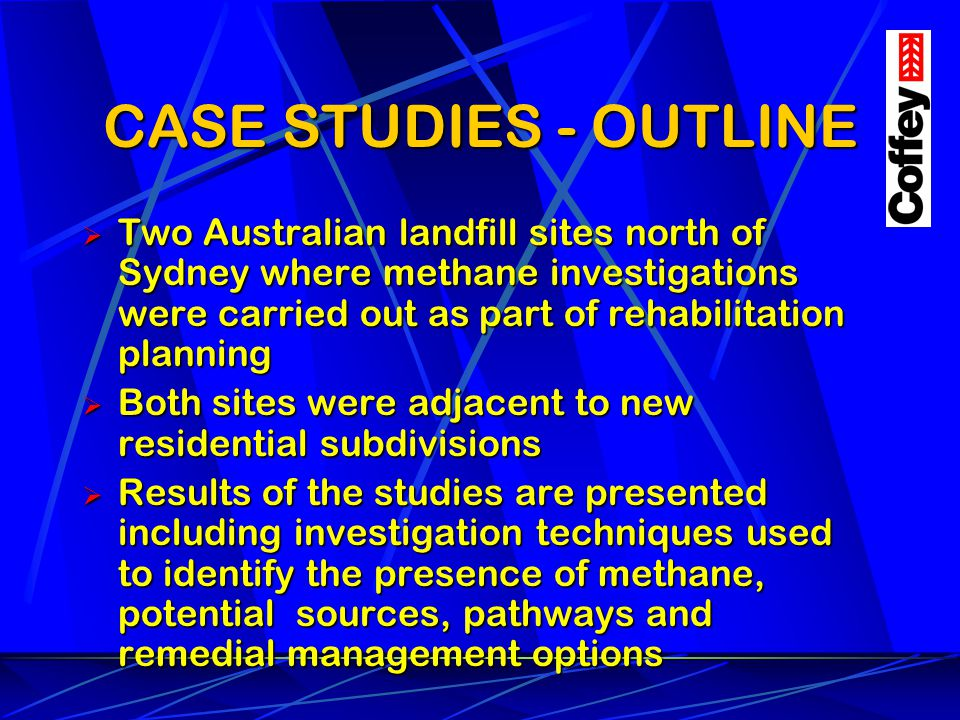 CASE STUDIES - OUTLINE Two Australian landfill sites north of Sydney where methane investigations were carried out as part of rehabilitation planning