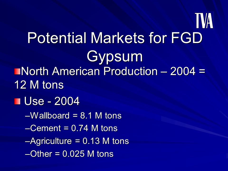 Potential Markets for FGD Gypsum North American Production – 2004 = 12 M tons Use - 2004 Use - 2004 –Wallboard = 8.1 M tons –Cement = 0.74 M tons –Agr