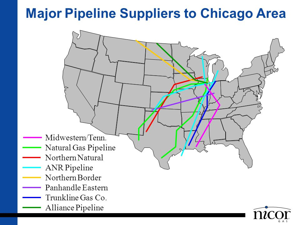 Major Pipeline Suppliers to Chicago Area Midwestern/Tenn. Natural Gas Pipeline Northern Natural ANR Pipeline Northern Border Panhandle Eastern Trunkli