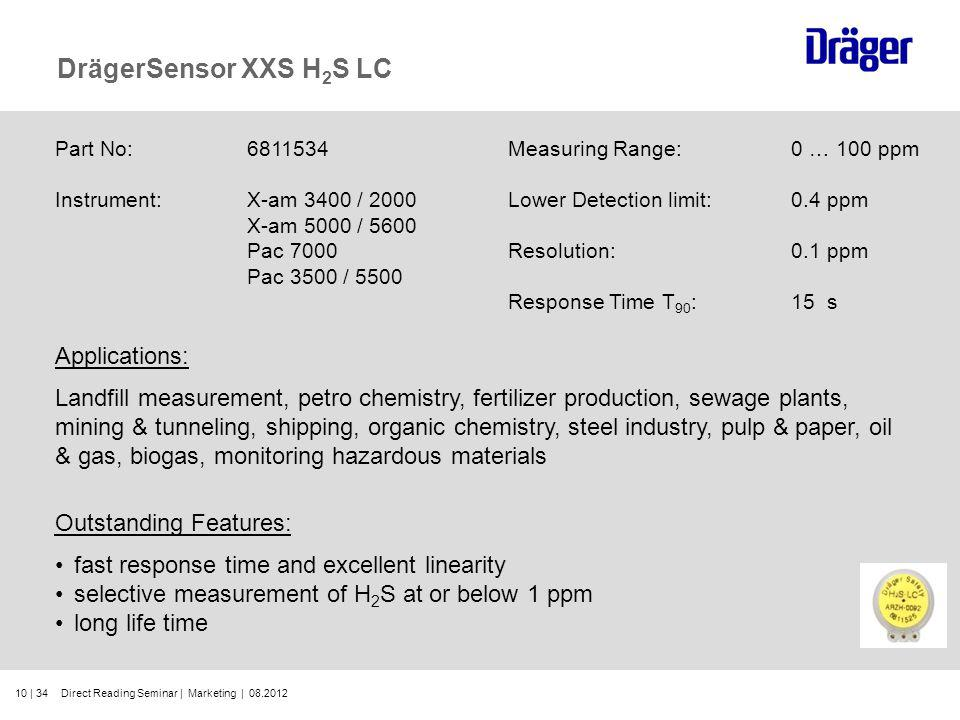 10 | 34 DrägerSensor XXS H 2 S LC Part No:6811534 Instrument:X-am 3400 / 2000 X-am 5000 / 5600 Pac 7000 Pac 3500 / 5500 Outstanding Features: fast res