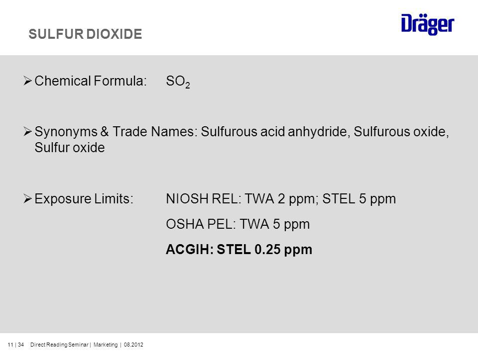 11 | 34 SULFUR DIOXIDE Chemical Formula:SO 2 Synonyms & Trade Names: Sulfurous acid anhydride, Sulfurous oxide, Sulfur oxide Exposure Limits:NIOSH REL