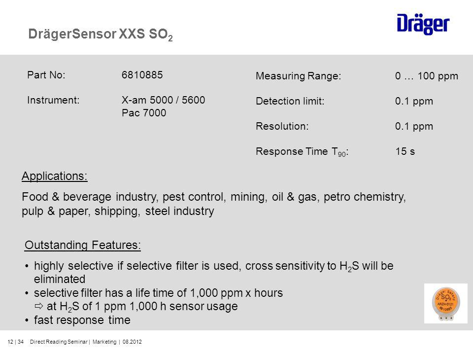 12 | 34 DrägerSensor XXS SO 2 Part No:6810885 Instrument:X-am 5000 / 5600 Pac 7000 Outstanding Features: highly selective if selective filter is used,