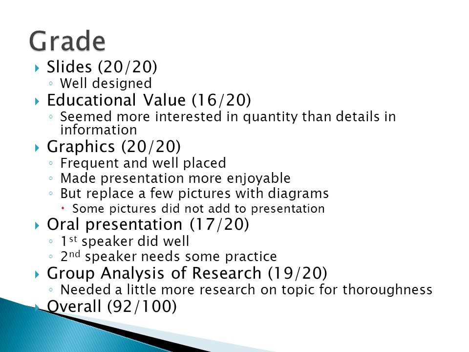Slides (20/20) Well designed Educational Value (16/20) Seemed more interested in quantity than details in information Graphics (20/20) Frequent and we