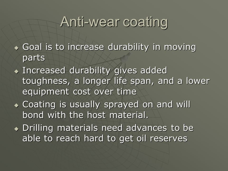 Nanovar Produced by Integran Produced by Integran Can be put on most any composite metal Can be put on most any composite metal Coatings custom made for situation and material being applied to Coatings custom made for situation and material being applied to
