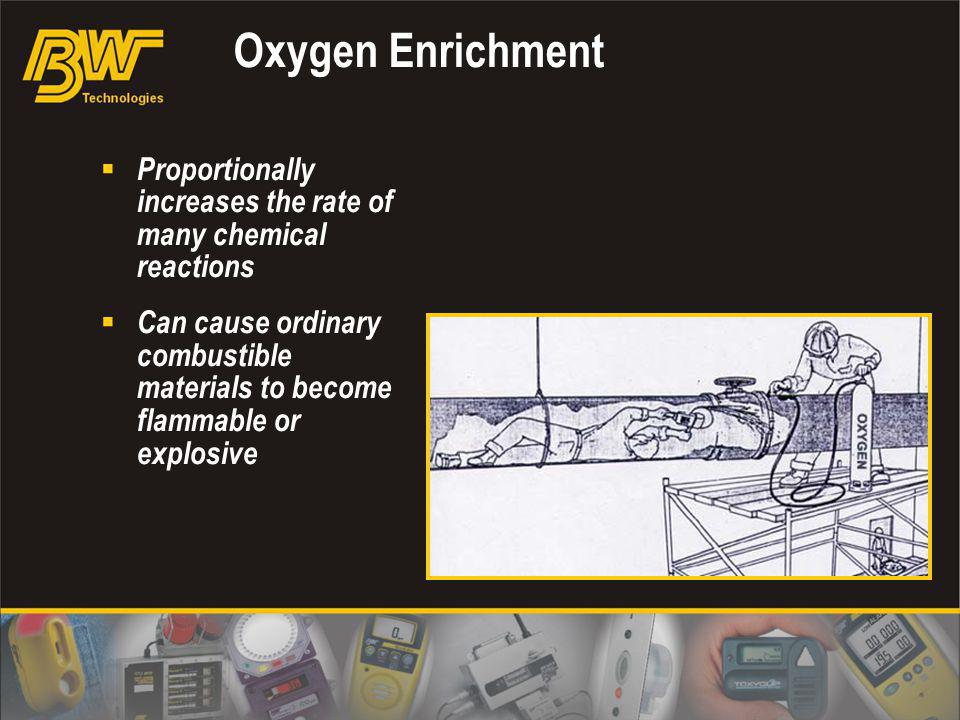 Oxygen Enrichment Proportionally increases the rate of many chemical reactions Can cause ordinary combustible materials to become flammable or explosi
