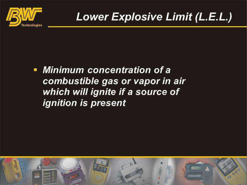 Lower Explosive Limit (L.E.L.) Minimum concentration of a combustible gas or vapor in air which will ignite if a source of ignition is present