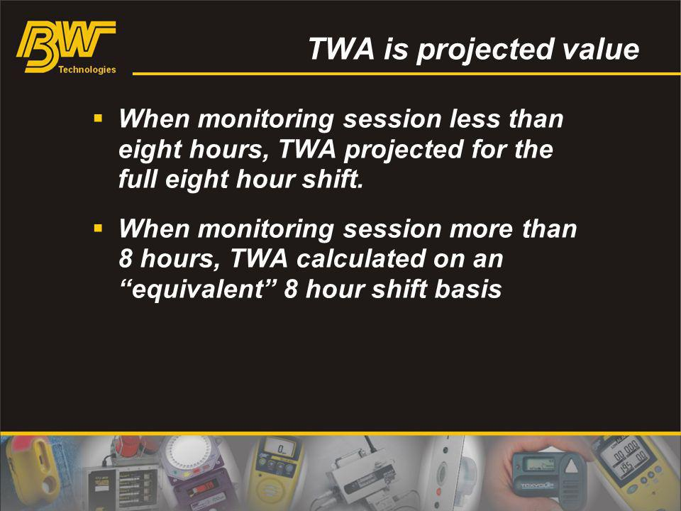 TWA is projected value When monitoring session less than eight hours, TWA projected for the full eight hour shift. When monitoring session more than 8