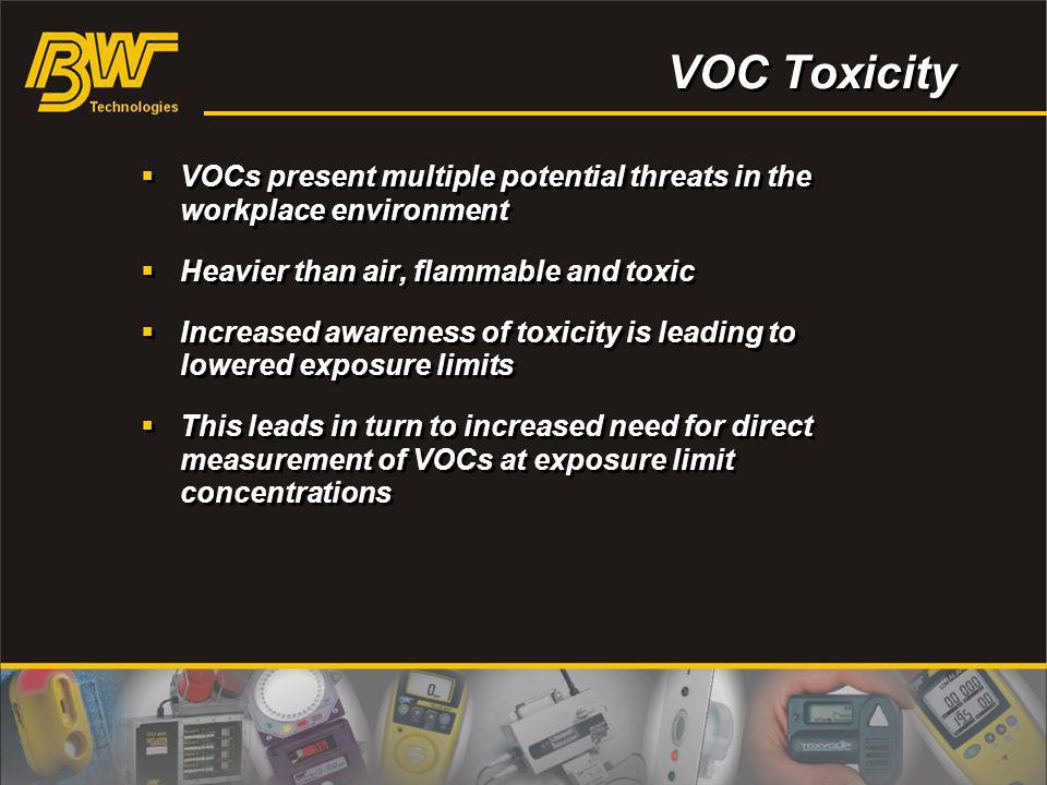 VOC Toxicity VOCs present multiple potential threats in the workplace environment Heavier than air, flammable and toxic Increased awareness of toxicit