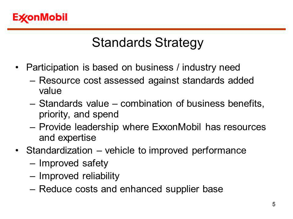 5 Participation is based on business / industry need –Resource cost assessed against standards added value –Standards value – combination of business