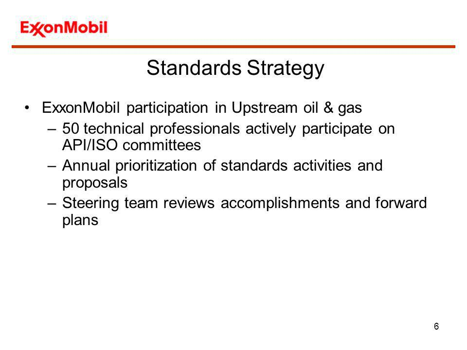 6 ExxonMobil participation in Upstream oil & gas –50 technical professionals actively participate on API/ISO committees –Annual prioritization of stan