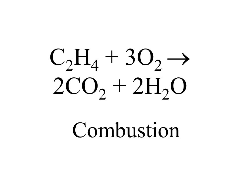 C 2 H 4 + 3O 2 2CO 2 + 2H 2 O Combustion
