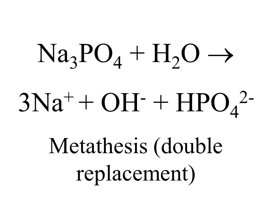 Na 3 PO 4 + H 2 O 3Na + + OH - + HPO 4 2- Metathesis (double replacement)