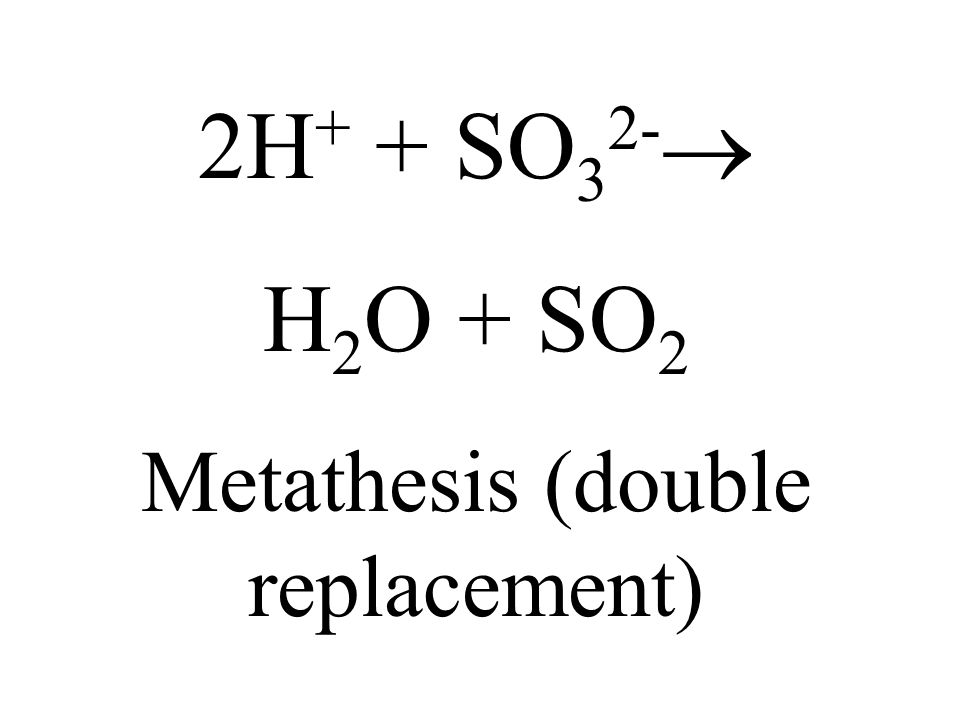 2H + + SO 3 2- H 2 O + SO 2 Metathesis (double replacement)