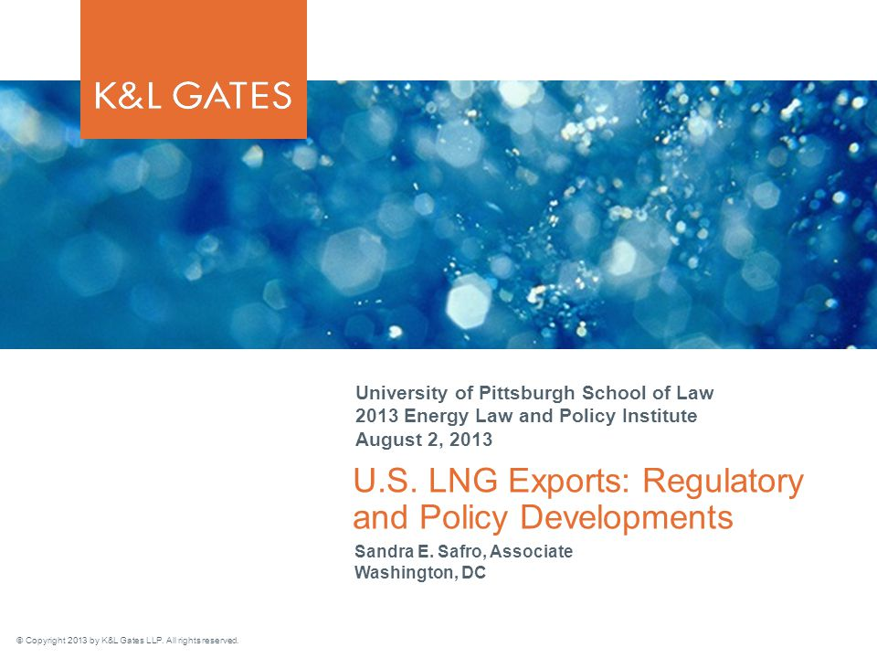 klgates.com 21 LNG Exports: Other Issues Support from Congress In Aug/Sept 2012, two bipartisan letters from US Congressmen to Energy Secretary Chu urged him to expedite LNG exports approvals In July 2013, 34 senators sent a similar letter to Secretary Moniz, including 11 Democrats Congressional opposition is only from the most liberal wing of the Democratic party Geopolitics: Increasing focus on impacts on US trade relations with strategic partners Trans-Pacific Partnership (TTP) Transatlantic Trade and Investment Partnership (TTIP)