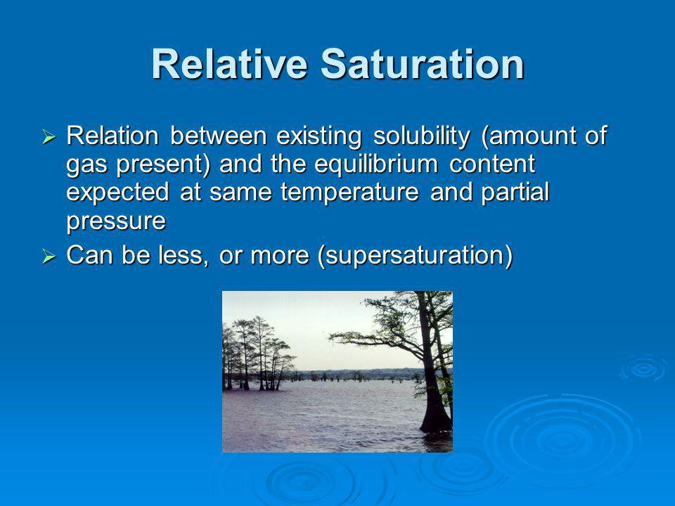 Relative Saturation Relation between existing solubility (amount of gas present) and the equilibrium content expected at same temperature and partial pressure Relation between existing solubility (amount of gas present) and the equilibrium content expected at same temperature and partial pressure Can be less, or more (supersaturation) Can be less, or more (supersaturation)