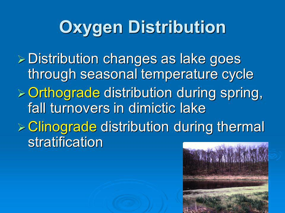 Oxygen Distribution Distribution changes as lake goes through seasonal temperature cycle Distribution changes as lake goes through seasonal temperature cycle Orthograde distribution during spring, fall turnovers in dimictic lake Orthograde distribution during spring, fall turnovers in dimictic lake Clinograde distribution during thermal stratification Clinograde distribution during thermal stratification