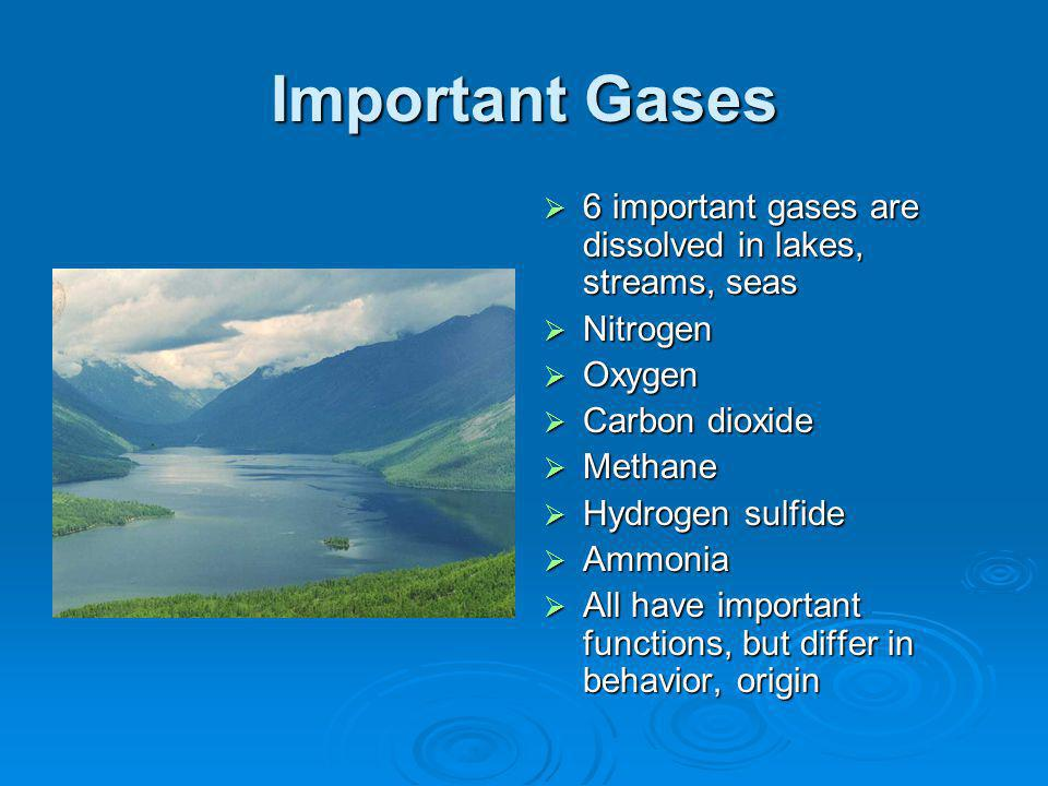 Important Gases 6 important gases are dissolved in lakes, streams, seas 6 important gases are dissolved in lakes, streams, seas Nitrogen Nitrogen Oxygen Oxygen Carbon dioxide Carbon dioxide Methane Methane Hydrogen sulfide Hydrogen sulfide Ammonia Ammonia All have important functions, but differ in behavior, origin All have important functions, but differ in behavior, origin