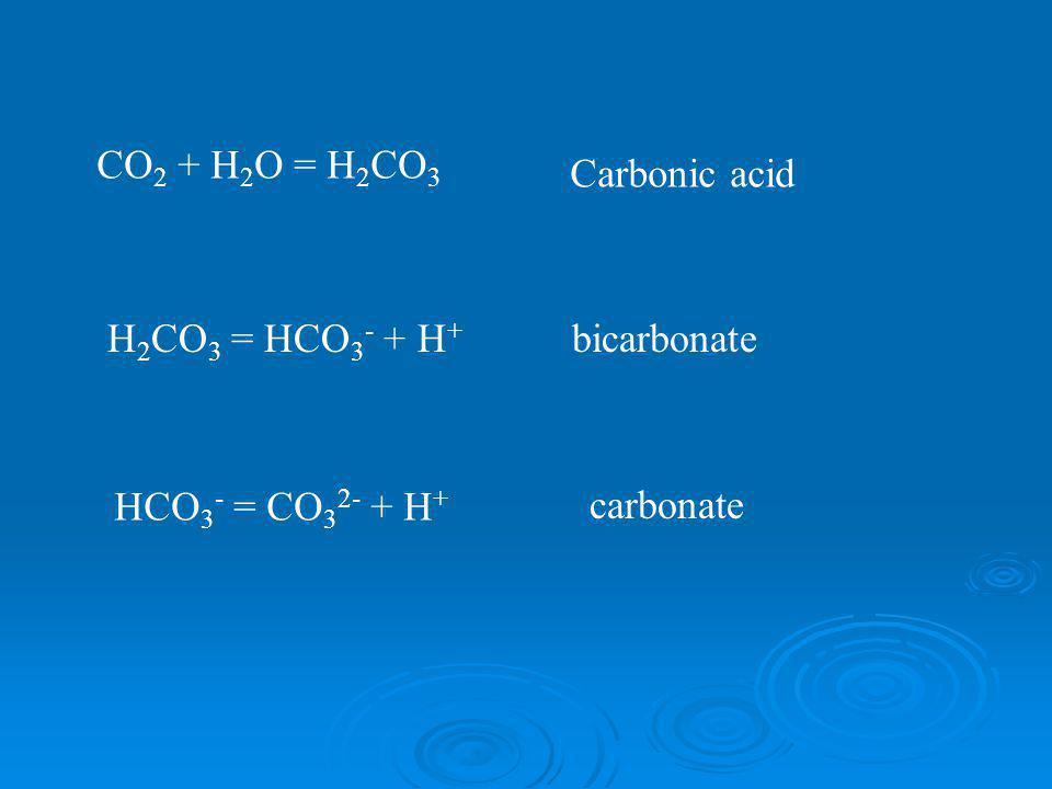 CO 2 + H 2 O = H 2 CO 3 H 2 CO 3 = HCO 3 - + H + HCO 3 - = CO 3 2- + H + Carbonic acid bicarbonate carbonate