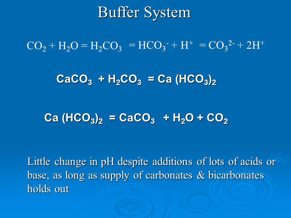 CO 2 + H 2 O = H 2 CO 3 = HCO 3 - + H + = CO 3 2- + 2H + Buffer System Ca (HCO 3 ) 2 = CaCO 3 + H 2 O + CO 2 Little change in pH despite additions of lots of acids or base, as long as supply of carbonates & bicarbonates holds out CaCO 3 + H 2 CO 3 = Ca (HCO 3 ) 2