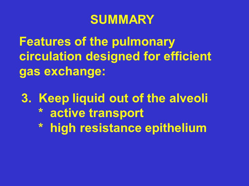 SUMMARY Features of the pulmonary circulation designed for efficient gas exchange: 3. Keep liquid out of the alveoli * active transport * high resista