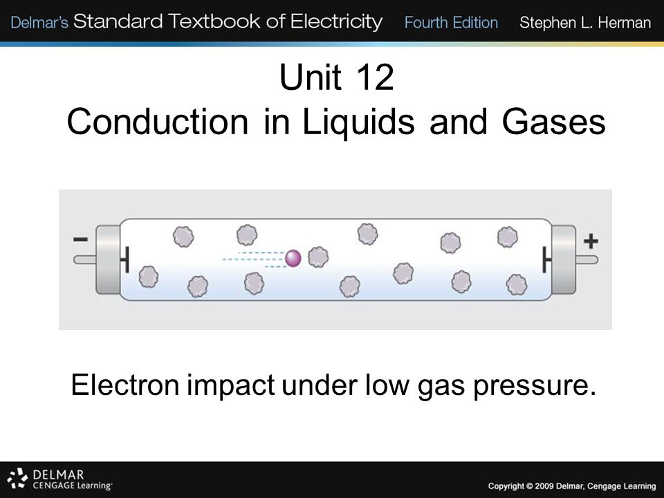 Unit 12 Conduction in Liquids and Gases Electron impact under low gas pressure.
