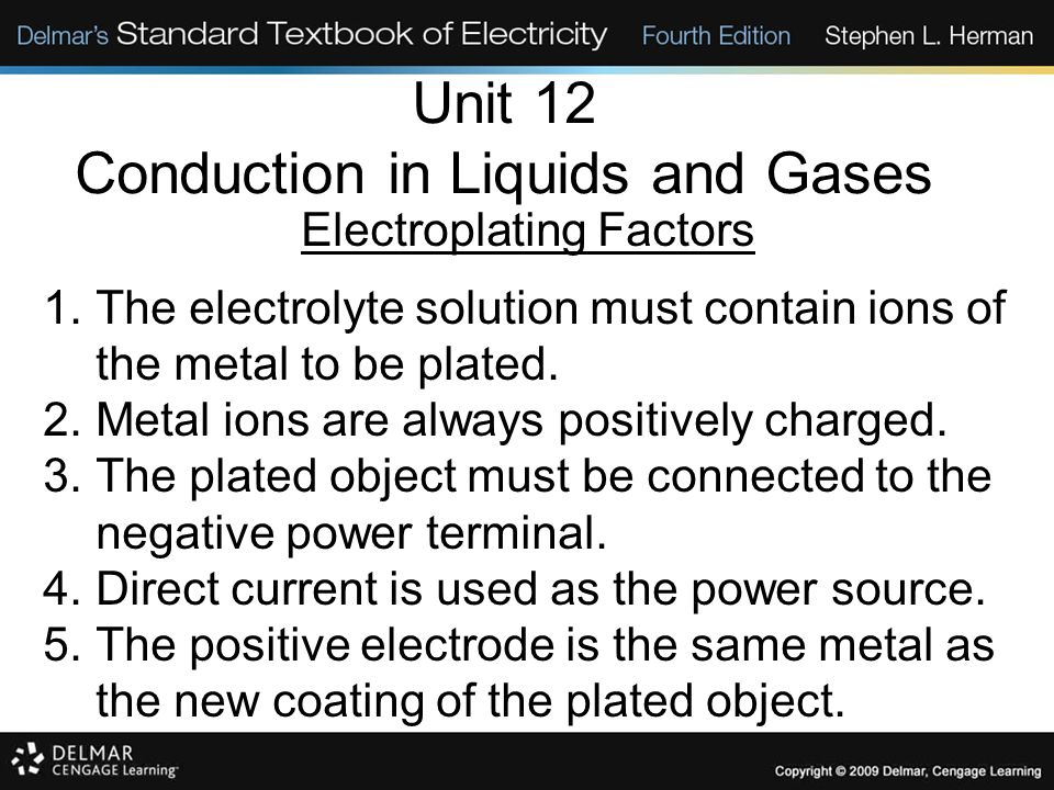 Unit 12 Conduction in Liquids and Gases Electroplating Factors 1.The electrolyte solution must contain ions of the metal to be plated. 2.Metal ions ar