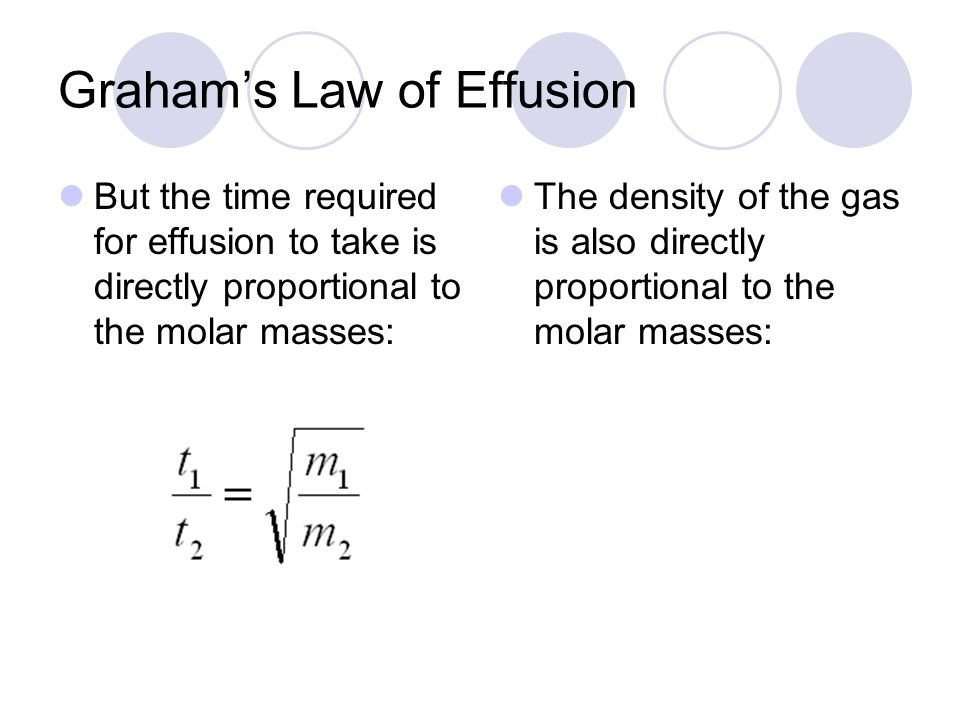 Grahams Law of Effusion But the time required for effusion to take is directly proportional to the molar masses: The density of the gas is also directly proportional to the molar masses: