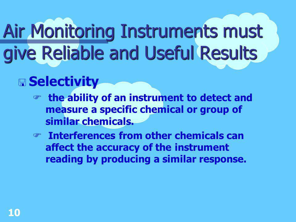 9 Air Monitoring Instruments must give Reliable and Useful Results < Sensitivity Fdefined as the ability of an instrument to accurately measure changes in concentration.