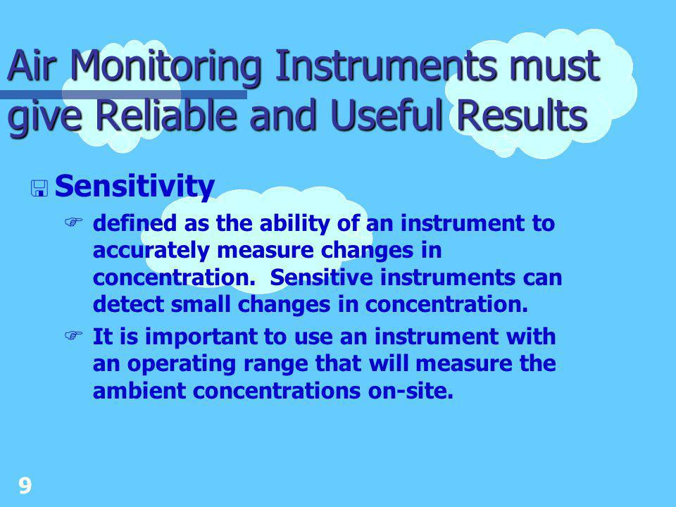 8 Air Monitoring Instruments must give Reliable and Useful Results < Response time Fis the length of time the monitor takes from when it senses a contaminant until it generates data.